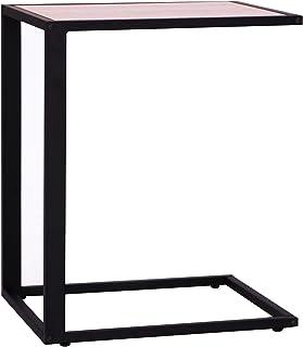 HOMCOM Mesa Auxiliar para Sofá Mesa Lateral en Forma de C Estructura de Metal y Tablero de Madera MDF 40,6x50,8x63,5 cm Co...