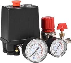 Mumusuki Regulador de la válvula de Control del Interruptor de presión del compresor de Aire con medidores para una reducc...