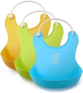 INIBUD 食事用 ソフトスタイ エプロン ビブ 防水 ポケット付き 3色セット (ブルー、イェロー、グリーン)
