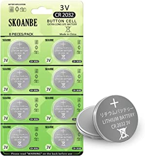 SKOANBE 8Packs CR2032 3Volt TV Remote Lithium Battery with Leak-Proof & Long-Lasting & High Capacity&Low self-Discharge Rate