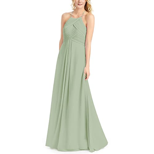 2668ce58822 Doramei Women s Prom Dress A-Line Floor Length Chiffon Pleated Backless Simple  Halter Neck Bridesmaid
