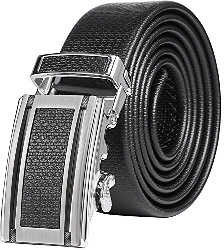 Mio Marino Classic Ratchet Belt – Premium Leather – 1.38 Wide – Adjustable Buckle – Heavy Slate – Adjustable from 38″ to 54″ Waist