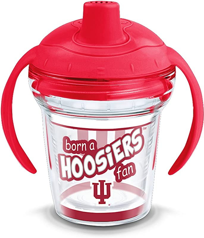 Tervis 1292055 Indiana Hoosiers Born A Fan Tumbler With Wrap And Fire Engine Red Lid 6oz My First Sippy Cup Clear