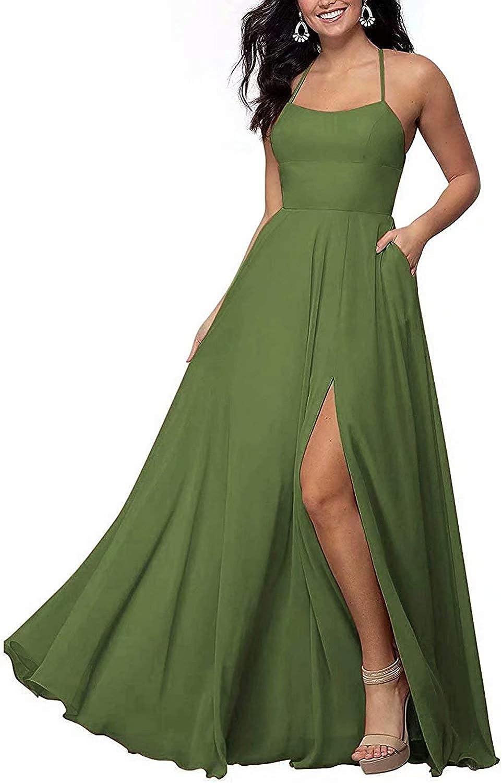 RYANTH Maxi Bridesmaid Dresses with Slit Halter Chiffon Formal Dress Long RYZ05