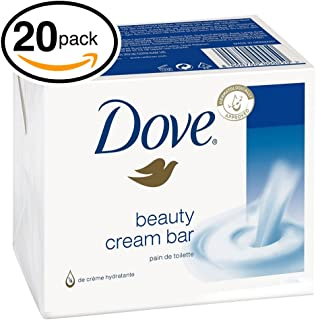 (PACK OF 20 BARS) Dove Beauty Soap Bar: WHITE. Protects Your Skin's Natural Moisture. 25% MOISTURIZING LOTION & CREAM! Great for Hands, Face & Body! (20 Bars, 3.5oz Each Bar)