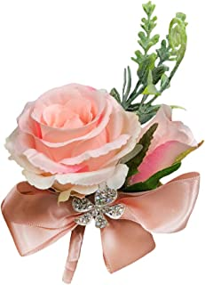 Abbie Home Rose Buds Rhinestone Jewelry Wrist Corsage Boutonniere Brooch Pin for Suit Bow Décor for Party Wedding (Pink Boutonnière)