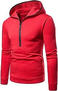 SPE969 Mens Cool Zipper Pullover Hoodie,Pure Color Long Sleeve Hooded Sweatshirt Tops Blouse