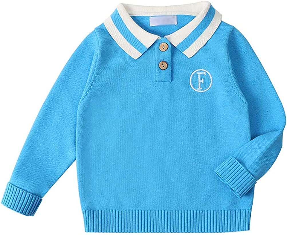 JanLEESi Toddler Baby Sweater Boys Knit Pullover Cotton Knitting Polo Shirt,Sky Blue,2-3T