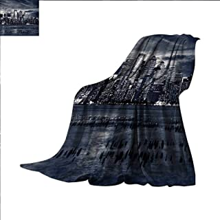 Hariiuet City Throw Blanket Dramatic View of New York Skyline from Jersey Side Clouds Buildings Velvet Plush Throw Blanket 90