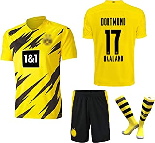 #17 Haaland Trikot Kinder 2020 2021 Home Trikot Neue Saison Kinder/Erwachsene Team Trainingsanzug Fußball Sportswear Kurzarm Shorts