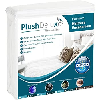 PlushDeluxe Premium Zippered Mattress Encasement, Waterproof, Bed Bug & Dust Mite Proof 6-Sided Protector Cover, Hypoallergenic Cotton Terry Surface (Fits 9-12 Inches H) King