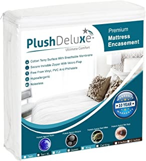 PlushDeluxe Premium Zippered Mattress Encasement, Waterproof, Bed Bug & Dust Mite Proof 6-Sided Protector Cover, Hypoallergenic Cotton Terry Surface (Fits 9-12 Inches H) Queen Size