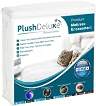 PlushDeluxe Premium Zippered Mattress Encasement, Waterproof, Bed Bug & Dust Mite Proof 6-Sided Protector Cover, Hypoallergenic Cotton Terry Surface (Fits 12-15 Inches H) Full, 10-Year Warranty