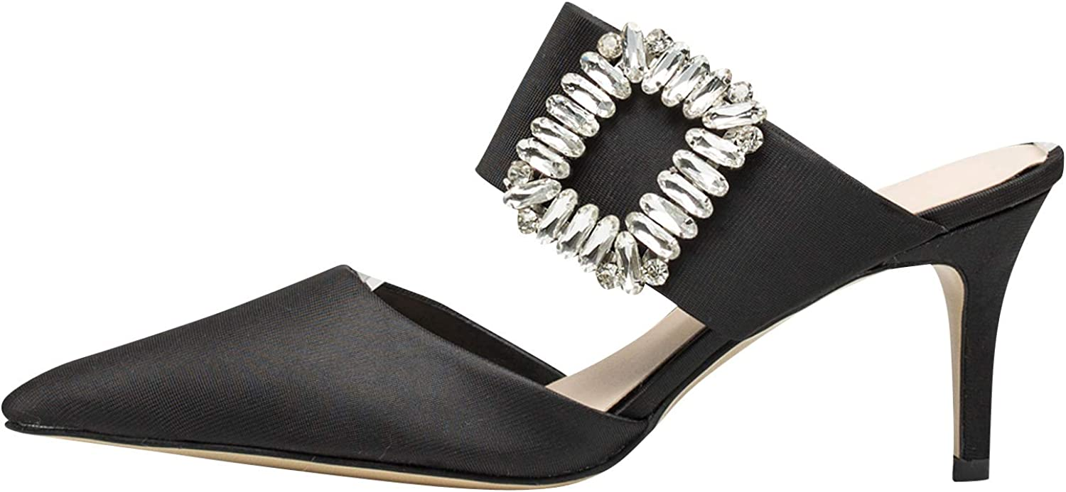 AnnaKastle Womens Crystal-Embellished Mule Dress shoes
