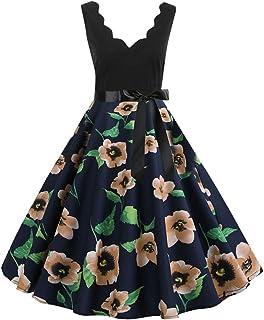 UOKNICE Dresses for Women, Spring Summer Casual Fashion Sleeveless Flower Print Vintage Flare Swing Tunic Dress