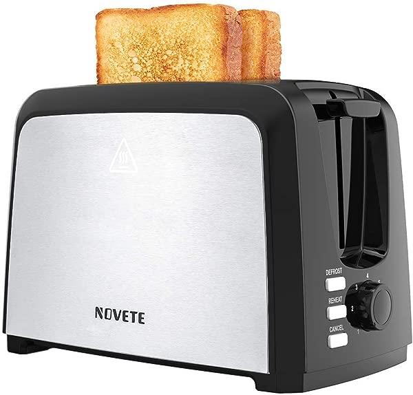NOVETE 烤面包机 2 片烤面包机家用 2 片烤面包机宽槽紧凑型烤面包机,带 7 个阴影设置可拆卸面包屑托盘除霜再热取消功能 UL 认证不锈钢黑色烤面包机