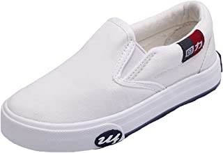 HW-GOODS Unisex Kid's Canvas Sneakers Casual Slip-on Shoes White (Toddler/Little Kid/Big Kid)