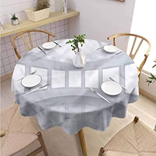 BNAREO Dinning Tabletop Decoration Round Tablecloth Modern Picture Gallery 3D Wedding Patio Dining Dorm D39