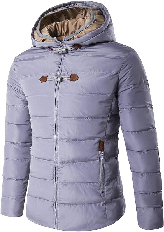 LEISHOP Men Winter Down Jacket Hoodie Front Zip Outdoor Casual Overcoat