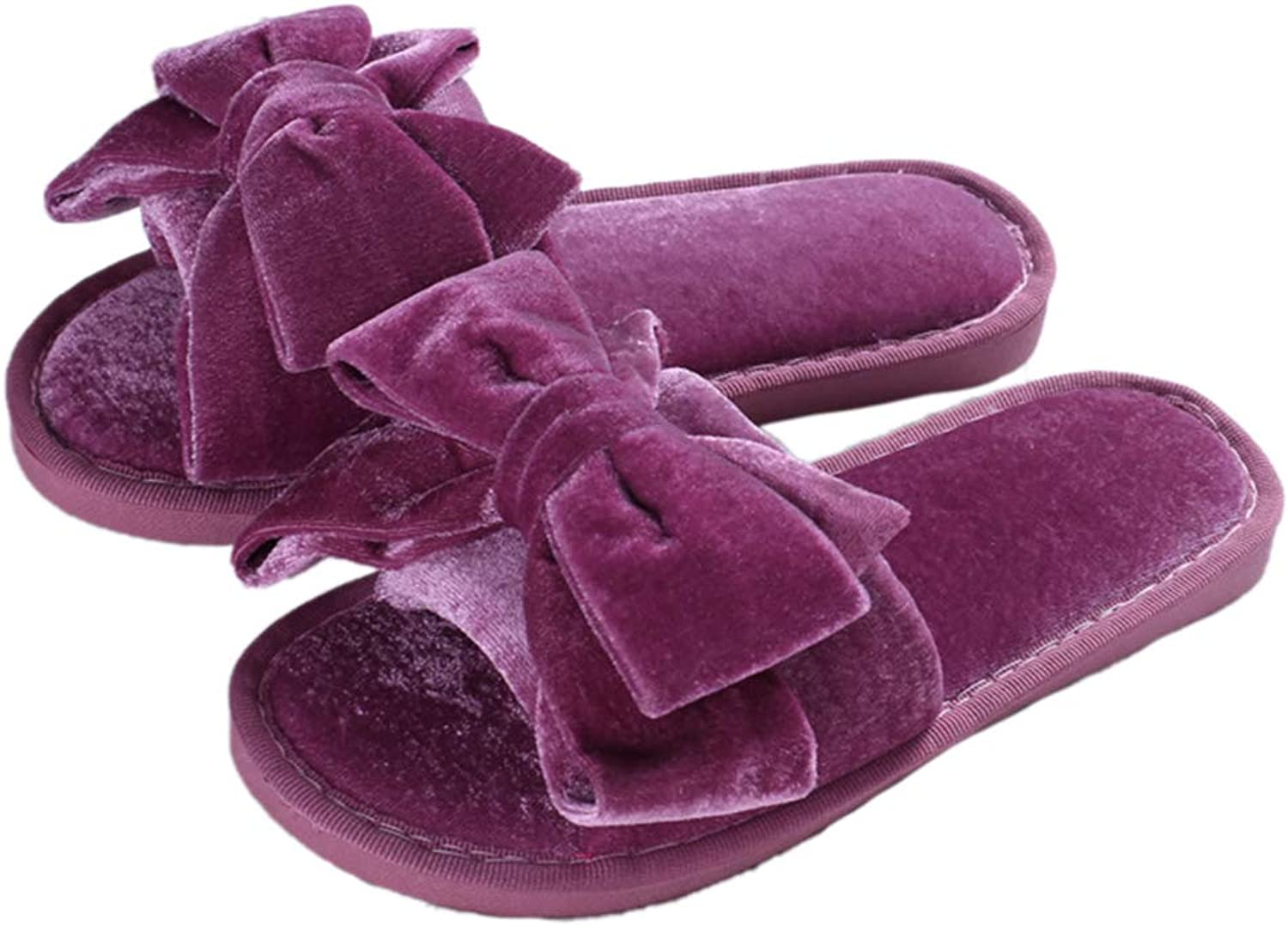 Winter Cute Slippers Bowknot Furry Flip Flops Sweet Ladies Slip On Fur Slides Plush Flat Home shoes