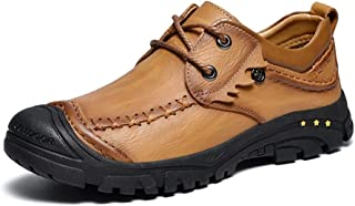 XueQing Pan Loafer Shoes for Men Lace Up Genuine Leather Upper Classic Modern Round Toe Anti Slip Lightweight (Color : Light-Brown, Size : 6.5 UK)