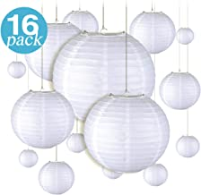 16 Pieces White Round Hanging Paper Lanterns for Parties, Birthdays, Weddings, and Events -Included Sizes of 4