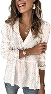 GUOCAI Womens V-Neck Long Sleeve Loose Polka Dot Chiffon Pullover Shirts