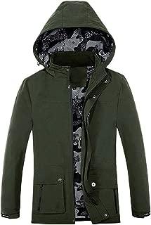 Men Coat Autumn Winter Pure Color Pocket Zipper Hooded Jacket Plus Velvet Outwear