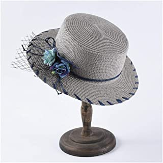 ZiWen Lu Hat Ladies Flat top Visor Summer Straw hat Holiday Travel Korean Version of The Clear Flower Decoration Flat top hat (Color : Grey)