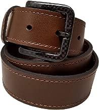 New Ferrer Men's Leather Metal free Belt: Carbon Fiber Buckle: Airport Friendly: Hypoallergenic TSA Belt