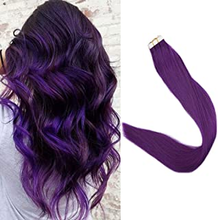 Full Shine Short Purple Hair Extension Tape Ins 14