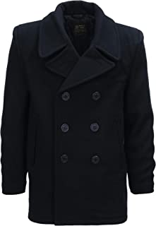 Fostex Garments, Cappotto Nero in Lana Doppiopetto US Navy Deck Jacket Pea Coat Marina Americana