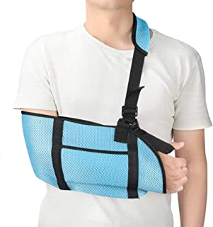 Adult Arm Sling Lightweight Shoulder Immobilizer with Breathable Mesh, Adjustable Arm Support Strap with Storage Space for Stabilise Arm, Injury Recovery and Shoulder Dislocations, One Size(Sky Blue)