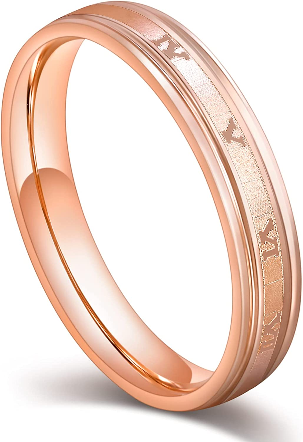 Greenpod 4mm Stainless Steel Rings for Women Men Roman Numerals Ring Rose Gold Brushed Center Stepped Edge Wedding Band Comfort Fit Size 5-11
