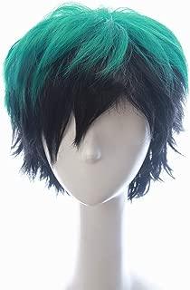 Soul Wigs: Izuku Midoriya in My Hero Academia Inspired Short Green Hair with Dark Black Shadows Slightly Spiky Fluffy Wig Halloween Japanese Anime Costume Prestyled Hair for Teens and Men