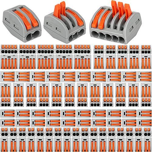 110 Pezzi Compact Connettore,YuShi Morsettiere elettriche,Capicorda a Morsetto a Leva,Leva-Dado Cavo Connettore Set,55 Pezzi 2 Porte/45 Pezzi 3 Porte/10 Pezzi 5 Porte