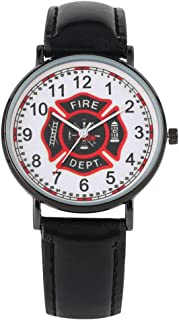 Special Fire Brigade Logo Watch Fashion Pin Buckle Leather Strap Watches Classic Arabic Numerals Display Dial Quartz Wristwatch
