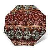 Paraguas Plegable Automático Impermeable Flora Mandala 13, Paraguas De Viaje Compacto a Prueba De Viento, Folding Umbrella, Dosel Reforzado, Mango Ergonómico