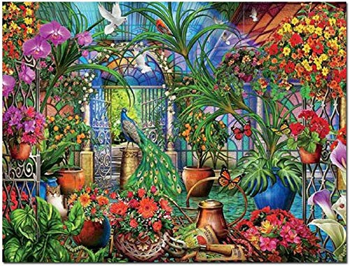YeeATZ Jigsaw Puzzles 1000 Piece Puzzles, Wooden Intellectual Puzzles Jigsaw Toys, for Grown Ups Picture/Peacock Garden