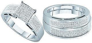 مجموعة Dazzlingrock 0.60 قيراط (ctw) 10K جولة قص الماس الأبيض للرجال والنساء مجموعة الثلاثي خواتم الخطوبة ، الذهب الأبيض