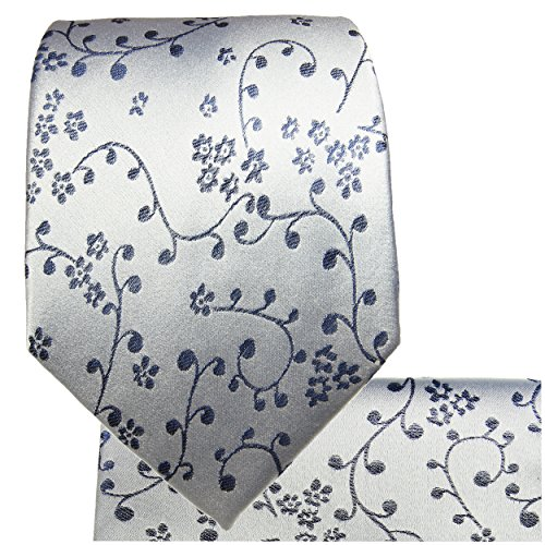Cravate homme bleu argent ensemble de cravate 3 Pièces ( longueur 165cm )