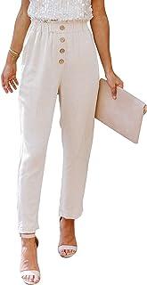 GOSOPIN Women Button Elastic Waist Paper Bag Waist Pants with Pockets