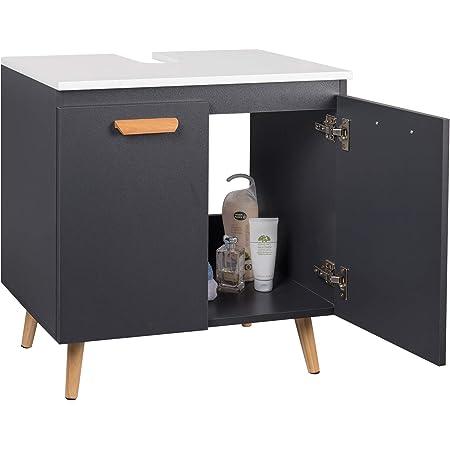 EUGAD 0136WY Meuble sous lavabvo Armoire de Salle de Bain sur Pieds Rangement Pratique Dessous de Vasque 60x40x60,5cm Gris + Blanc
