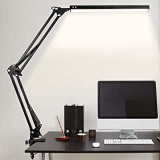 Lampe de Bureau LED, 10W Lampe de Table Architecte Pliable avec Clamp, Bras Pivotant en Métal,Atténuation et Température d...