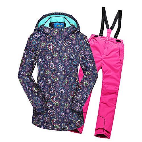 CXJC Außen Mädchens Wasserdicht Winddicht Atmungs Thick Thermal Skianzug Skijacke Strapse Ski Hose Outdoor Skibekleidung Für Kinder 8-14 A-170/176