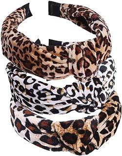 Pack of 3 Women Handmade Lovely Style Leopard flannel Cross Knot Hair Hoop Hairband Headband Headwear Hair Accessories