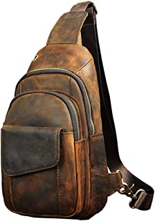 vintage Men's real Leather chest bag Business Casual Outdoor Sling Bag (Style 3 - Crazy Horse Leather)
