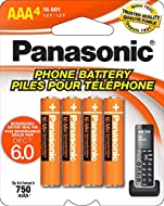 Panasonic Genuine AAA NiMH Rechargeable Batteries for DECT Cordless Phones, 4 Pack