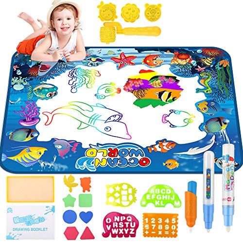welltop Aqua Magic Doodle, Wasser Doodle Matte 100*70cm Kinder, Große Magic Malmatte mit 3 Magic Stifte, 3 Stempelset- Perfektes Spielzeug für Mädchen Junge