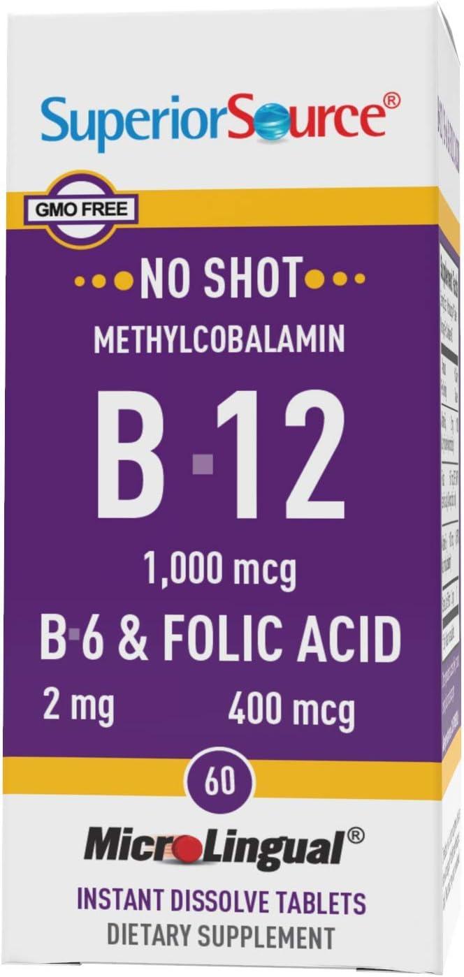Superior Source No Shot Vitamin B12 mcg 1000 free shipping Limited price Methylcobalamin
